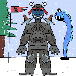 ice age knight with a ice worm