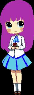 La chica de pelo lila