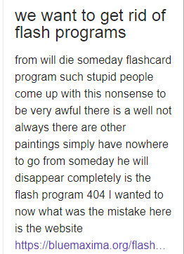 Look we want to get rid of the flash program what will other people say about it